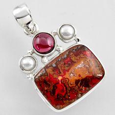 17.38cts natural brown moroccan seam agate garnet pearl 925 silver pendant r2314