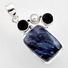 18.12cts natural black pietersite (african) onyx pearl 925 silver pendant r2369