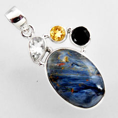 14.40cts natural black pietersite (african) onyx 925 silver pendant r2373