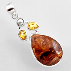 17.57cts natural brown pietersite (african) citrine 925 silver pendant r2380