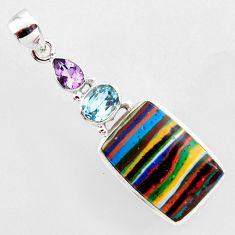 17.22cts natural multi color rainbow calsilica amethyst 925 silver pendant r2382