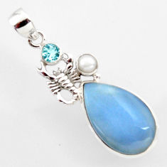 16.87cts natural blue owyhee opal topaz pearl 925 silver scorpion pendant r2384