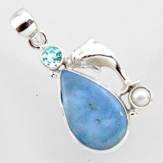 17.42cts natural blue owyhee opal topaz pearl 925 silver dolphin pendant r2389