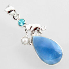15.96cts natural blue owyhee opal topaz pearl 925 silver elephant pendant r2393