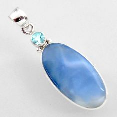 15.65cts natural blue owyhee opal topaz 925 sterling silver pendant r2398