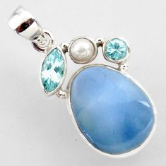925 sterling silver 16.73cts natural blue owyhee opal topaz pearl pendant r2400