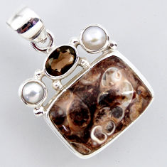 16.70cts natural brown turritella fossil snail agate 925 silver pendant r2401