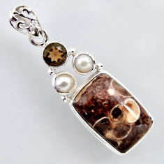 16.70cts natural brown turritella fossil snail agate 925 silver pendant r2402