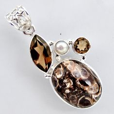 20.65cts natural brown turritella fossil snail agate 925 silver pendant r2403