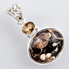 17.42cts natural brown turritella fossil snail agate 925 silver pendant r2405