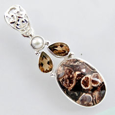 17.95cts natural brown turritella fossil snail agate 925 silver pendant r2406