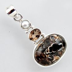 14.45cts natural brown turritella fossil snail agate 925 silver pendant r2407