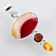 14.23cts natural brown mookaite garnet 925 sterling silver pendant jewelry r2409