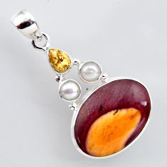 17.22cts natural brown mookaite citrine pearl 925 sterling silver pendant r2410