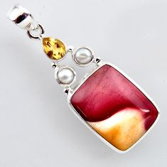 19.72cts natural brown mookaite citrine pearl 925 sterling silver pendant r2411
