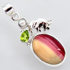 925 silver 16.49cts natural brown mookaite peridot pearl elephant pendant r2412