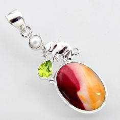 16.06cts natural brown mookaite peridot pearl 925 silver elephant pendant r2413