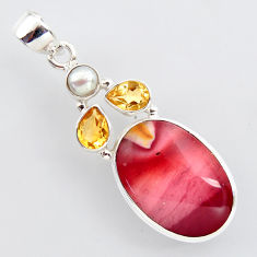 17.22cts natural brown mookaite citrine 925 sterling silver pendant r2415