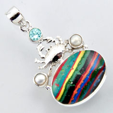 18.94cts natural multi color rainbow calsilica 925 silver crab pendant r2421