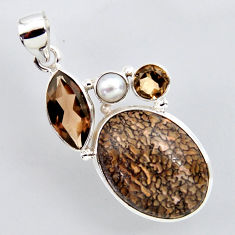 23.95cts natural brown dinosaur bone fossilized pearl 925 silver pendant r2427