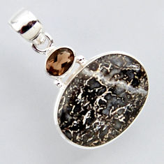 925 silver 14.68cts natural brown dinosaur bone fossilized oval pendant r2429