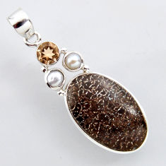 925 silver 18.15cts natural brown dinosaur bone fossilized pearl pendant r2431