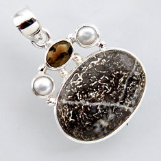 925 silver 19.20cts natural brown dinosaur bone fossilized pearl pendant r2433