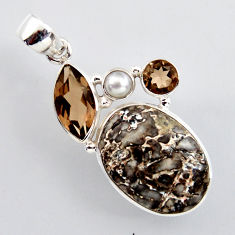 20.88cts natural brown dinosaur bone fossilized pearl 925 silver pendant r2437