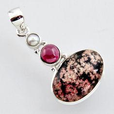925 sterling silver 15.08cts natural pink firework obsidian garnet pendant r2440