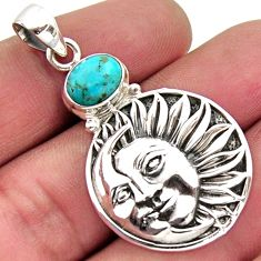 3.05cts blue arizona mohave turquoise silver crescent moon star pendant r2447