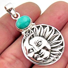 925 silver 2.99cts arizona mohave turquoise crescent moon star pendant r2449