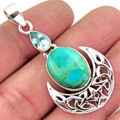 925 sterling silver 11.44cts blue arizona mohave turquoise topaz pendant r2452