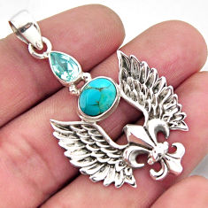 4.96cts blue arizona mohave turquoise topaz silver feather charm pendant r2456