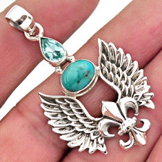 4.94cts blue arizona mohave turquoise topaz silver feather charm pendant r2459