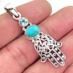 4.02cts blue arizona mohave turquoise 925 silver hand of god hamsa pendant r2465