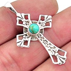 925 silver 0.78cts blue arizona mohave turquoise round cross pendant r2479