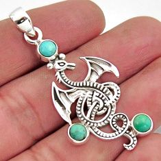 2.74cts blue arizona mohave turquoise 925 sterling silver dragon pendant r2486