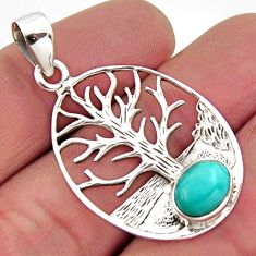 3.16cts blue arizona mohave turquoise 925 silver tree of life pendant r2492