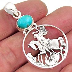 3.29cts blue arizona mohave turquoise 925 sterling silver horse pendant r2497