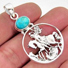 3.29cts blue arizona mohave turquoise 925 sterling silver horse pendant r2498