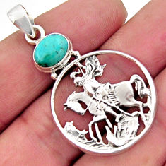 3.41cts blue arizona mohave turquoise 925 sterling silver horse pendant r2500
