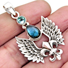 4.01cts natural blue labradorite topaz 925 silver feather charm pendant r2529