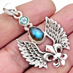 4.13cts natural blue labradorite topaz 925 silver feather charm pendant r2533