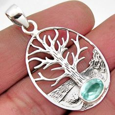 925 sterling silver 2.19cts natural blue topaz oval tree of life pendant r2568