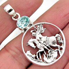 2.19cts natural blue topaz 925 sterling silver horse pendant jewelry r2570
