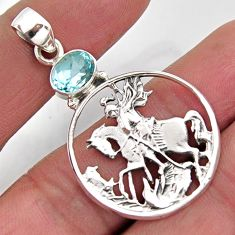 2.18cts natural blue topaz 925 sterling silver horse pendant jewelry r2571