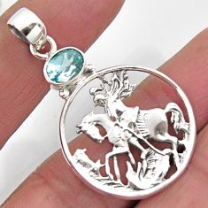 2.10cts natural blue topaz 925 sterling silver horse pendant jewelry r2572
