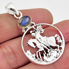 925 sterling silver 2.19cts natural blue labradorite horse pendant jewelry r2573
