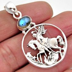 2.19cts natural blue labradorite 925 sterling silver horse pendant jewelry r2574