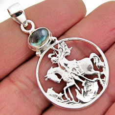 2.10cts natural blue labradorite 925 sterling silver horse pendant jewelry r2575